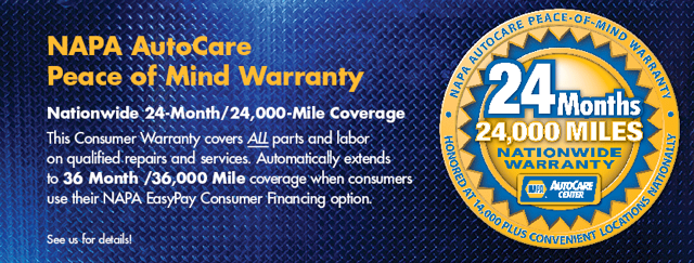 NAPA Warranty Banner | Sunset Tire and Auto Repair